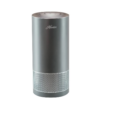 Hunter HP400GRS Cylindrical Tower Air Purifier-Gray-Silver